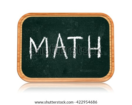 math - chalk text on 3d isolated wooden blackboard banner, learning success concept - stock photo