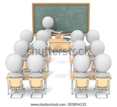 Math Class. Dude 3D characters X13 in classroom. Chalkboard with sample Mathematics. - stock photo