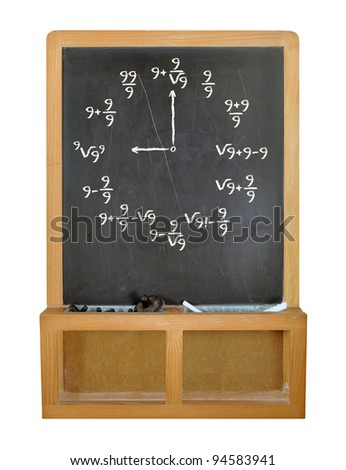 Math clock with all nines on old fashioned chalkboard isolated on white - stock photo