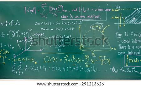 math formulas on a blackboard - stock photo