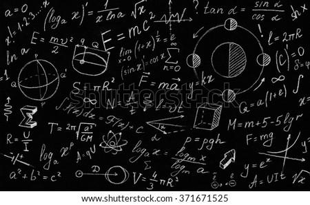 Math Physics Formulas Symbol On Black Stock Photo Royalty Free
