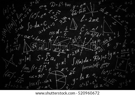 Math physics formulas on black background.