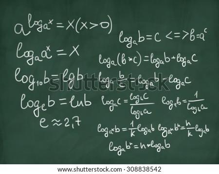 math physics formulas on green chalkboard - stock photo