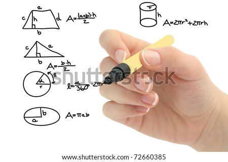 Math problem on whiteboard - stock photo