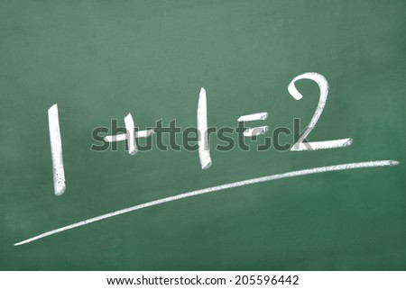 Math simple equation on chalk board - stock photo