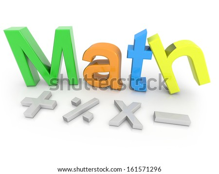 Math text with  math symbols isolated on a white background - stock photo