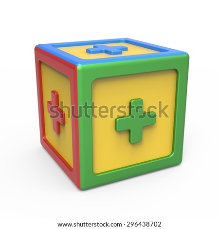 Mathematical addition sign toy block - stock photo