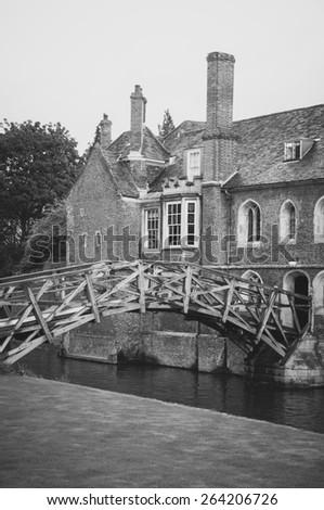Mathematical bridge desaturated vertical view, Cambridge, UK - stock photo