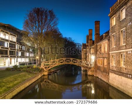 Mathematical Bridge in Cambridge, UK (Twilight Shot) - stock photo