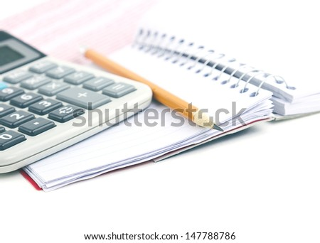 Mathematical calculator notebook and pencil for finance concept on white background with copy space. - stock photo