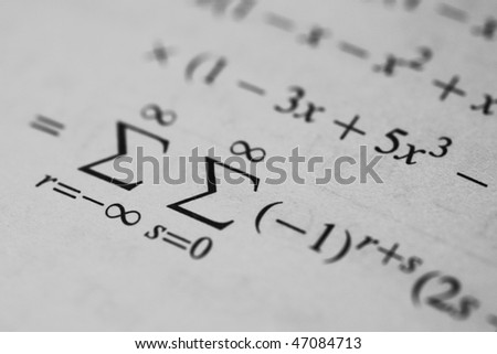 Mathematical equation concerning number theory - stock photo