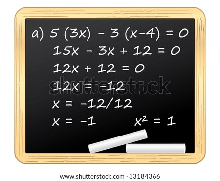 Mathematical equation on a blackboard illustration