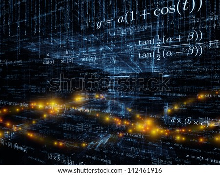 Mathematical Formula series. Design composed of mathematical formulas and design elements in perspective as a metaphor on the subject of business, science, education and technology