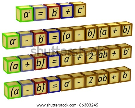 Mathematical formulas on the dice - stock photo