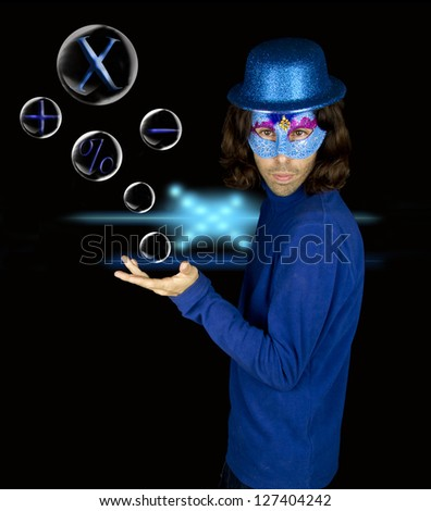 mathematical in the bubble soup - stock photo