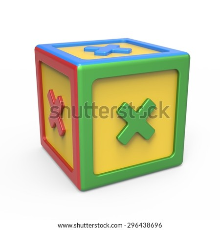 Mathematical multiplication sign toy block - stock photo