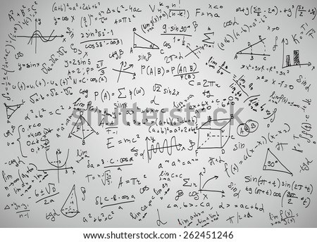 Mathematics equations and formulas on a white background - stock photo