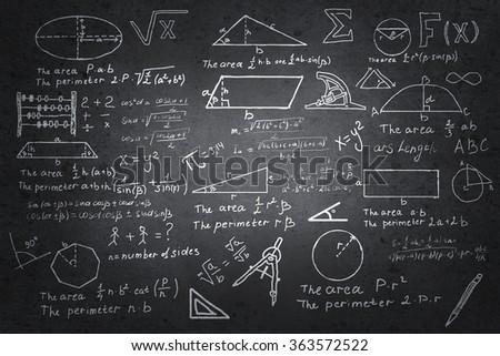 Mathematics sketches on blackboard - stock photo
