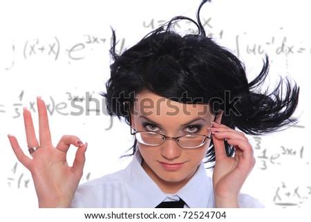 Mathematics teacher wearing glasses. Isolated on white background - stock photo