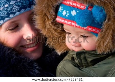 Mather and son outdoor - stock photo