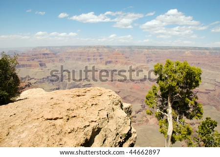 Mather View overlook of the widest point at the Grand Canyon - stock photo