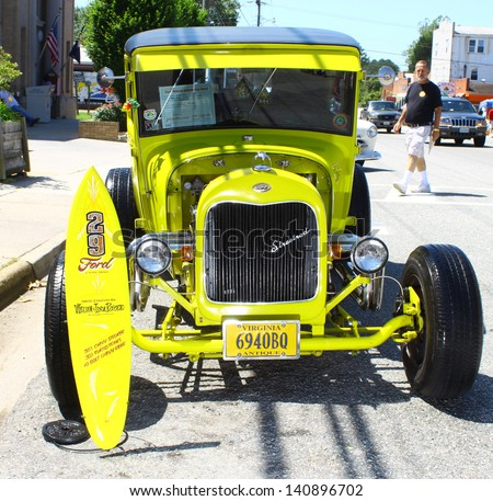 "MATHEWS, VA- JUNE 01:1929 Ford Streetrod front view in the Annual: Vintage TV's ""Chasing Pavement Vintage Automotive Festival"" in Mathews, Virginia on June 01, 2013 - stock photo"