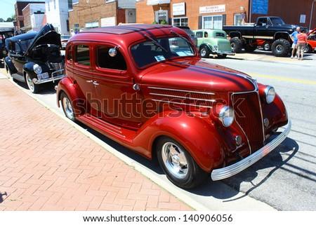 "MATHEWS, VA- JUNE 01:1936 Ford Streetrod in the Annual: Vintage TV's ""Chasing Pavement Vintage Automotive Festival"" in Mathews, Virginia on June 01, 2013 - stock photo"