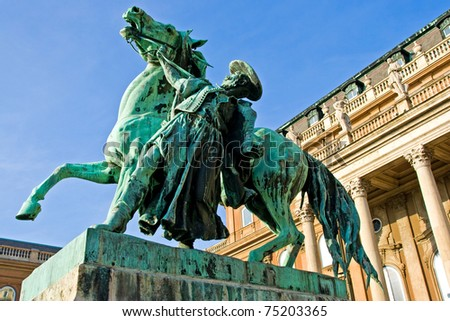 Mathias statue in Budapest, Hungary - stock photo