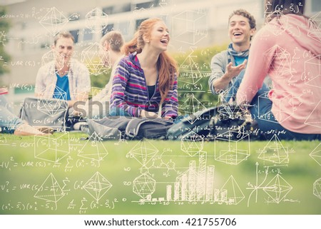 Maths against college students sitting in the park - stock photo