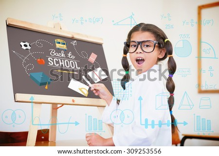 Maths against cute pupil dressed up as scientist in classroom - stock photo