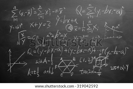 Maths formulas written by white chalk on the blackboard background. - stock photo