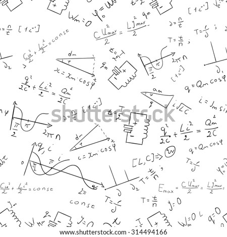 Maths seamless pattern Raster physics abstract white - stock photo