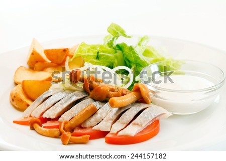 Matjes with Potatoes and Mayonnaise - stock photo
