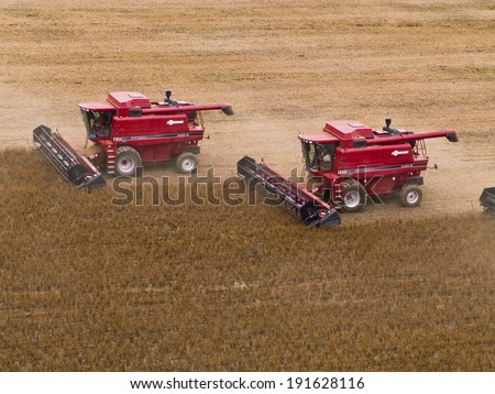 MATO GROSSO, BRAZIL - MARCH 02, 2008: Mass soybean harvesting at a farm in Campo Verde