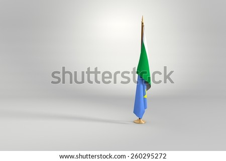 Mato Grosso do Sul state isolated flag on a brown and golden wooden mast 3d illustration - stock photo