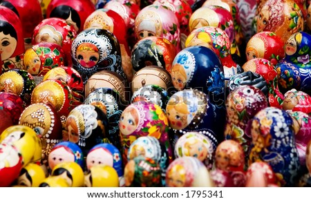 Matreshkas Flash Mob - stock photo
