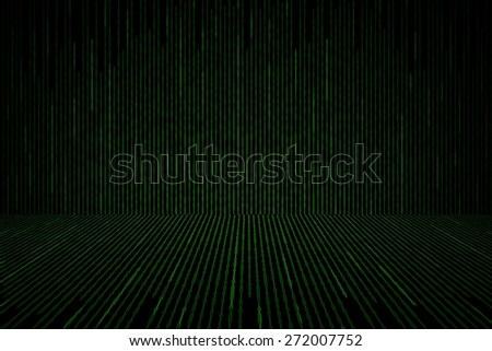 Matrix background with the green binary code, perspective concept - stock photo