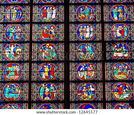 Matrix in a stained glass window in a French Cathedral