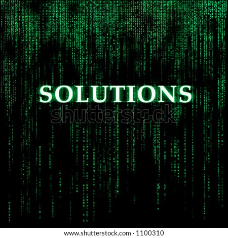 Matrix-like background - Solutions - stock photo