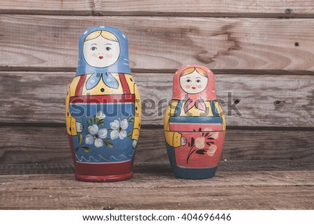 Matryoshka on a wooden background