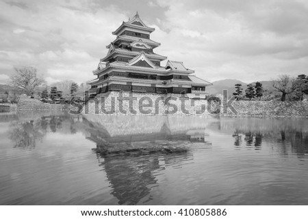 Matsumoto Castle in Japan. Black and white retro style. - stock photo