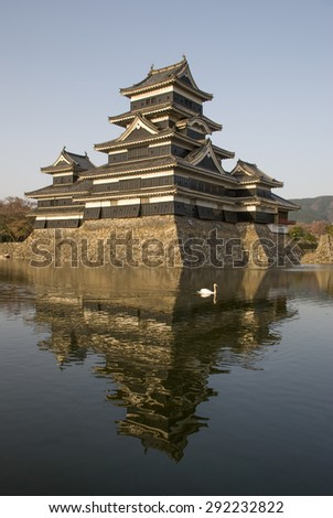 Matsumoto castle in the evening light, Japan