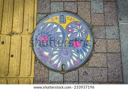 MATSUMOTO,JAPAN - 24 April,2014 :Today temari is Matsumoto's best-known folk craft, so important that it is featured on the city's manhole covers.