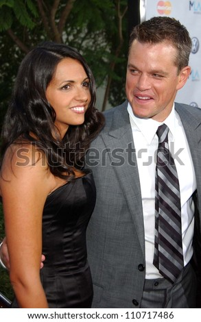 "Matt Damon and wife Luciana at the world premiere of ""The Bourne Ultimatum"" Arclight Cinemas, Hollywood, CA. 07-25-07 - stock photo"
