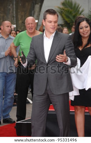 "Matt Damon at hand & footprint ceremony at Grauman's Chinese Theatre for the stars of ""Ocean's Thirteen."" June 5, 2007  Los Angeles, CA Picture: Paul Smith / Featureflash"