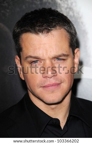 "Matt Damon  at the ""Invictus"" Los Angeles Premiere, Academy of Motion Picture Arts and Sciences, Beverly Hills, CA.  12-03-09 - stock photo"
