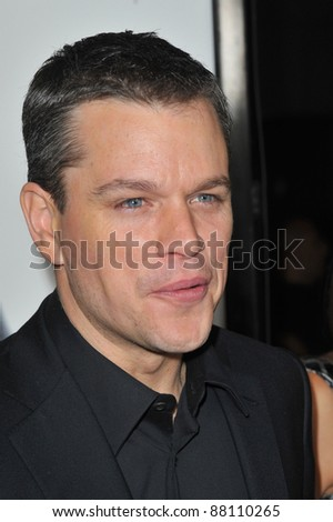 "Matt Damon at the Los Angeles premiere of his new movie ""Invictus"" at the Academy of Motion Picture Arts & Sciences Theatre. December 3, 2009  Beverly Hills, CA Picture: Paul Smith / Featureflash - stock photo"