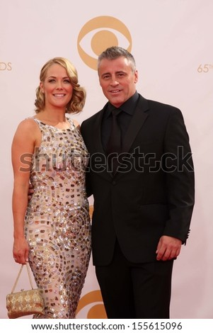 Matt LeBlanc and Andrea Anders at the 65th Annual Primetime Emmy Awards Arrivals, Nokia Theater, Los Angeles, CA 09-22-13 - stock photo