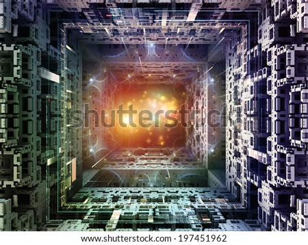 Matter Can Dream series. Artistic background made of fractal frames, graphic elements and lights for use with projects on imagination, technology and design - stock photo