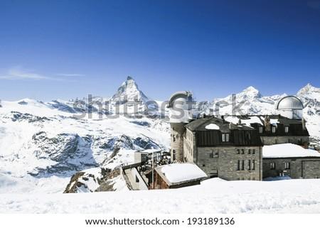 Matterhorn and the observatory, Zermatt, Switzerland - stock photo